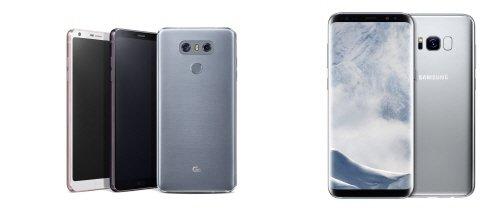 LG전자 G6(왼쪽)과 삼성전자 갤럭시S8.