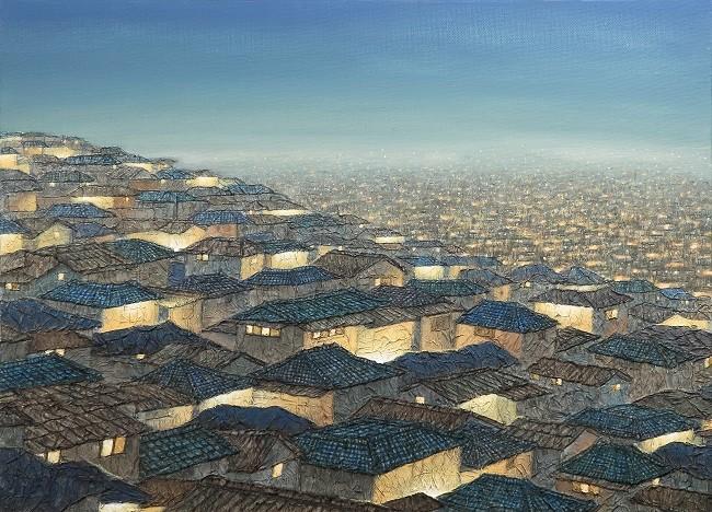 정영주, 도시-사라지는 풍경, 91 x65cm, 캔버스 위에 한지,아크릴릭, 2015