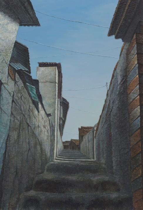 정영주, 골목, 116.7X80.3cm    캔버스 위에 한지,아크릴릭 2012