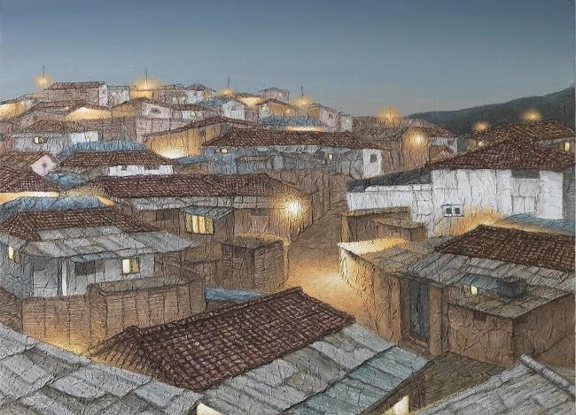 정영주, 새벽길, 73x53cm, 캔버스 위에 한지 아크릴릭, 2015