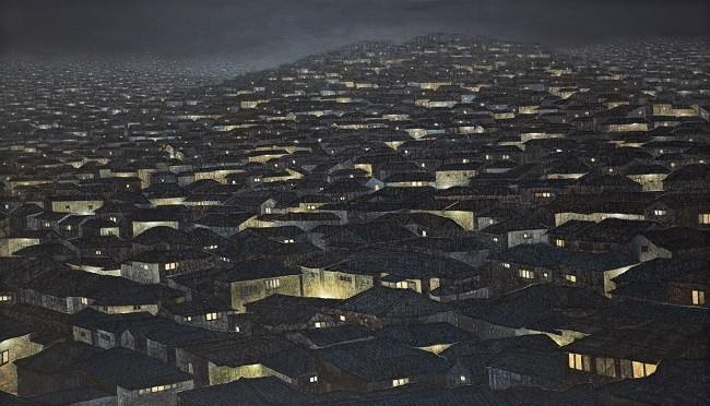 정영주, 도시-사라지는 풍경, 73 x53cm, 캔버스 위에 한지,아크릴릭, 2012