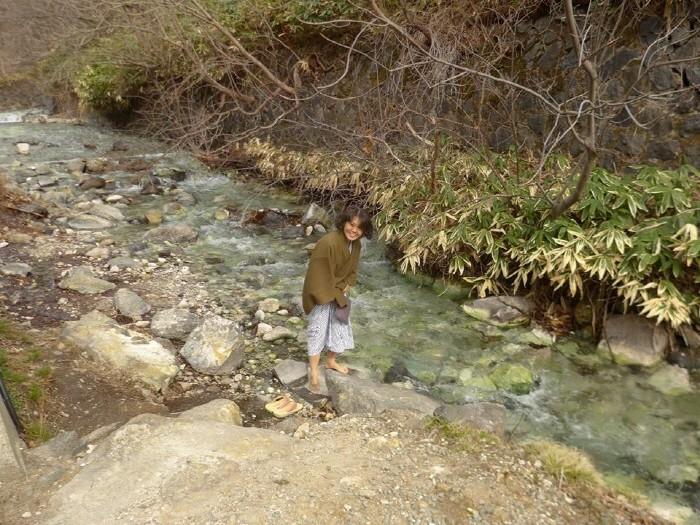 온천수가 흐르는 계곡