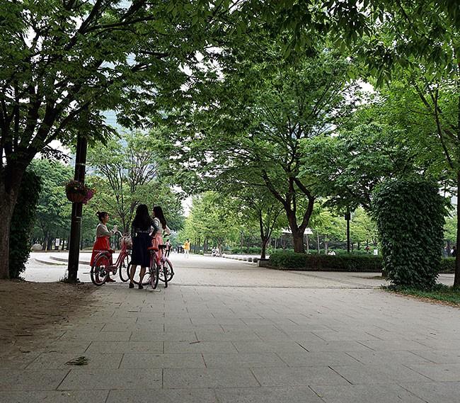 자전거를 타는 한복 입은 여학생들