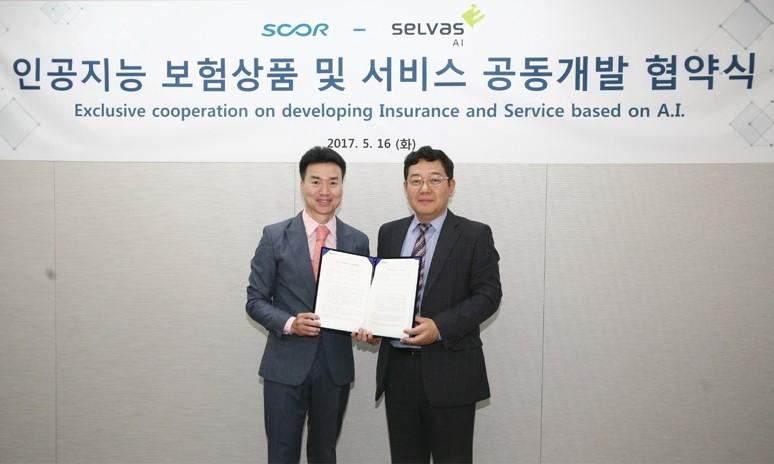 셀바스 AI는 프랑스 재보험사 스코르 글로벌 라이프 한국지점과 인공지능 보험상품 및 서비스 개발을 위한 업무 협약을 체결했다.