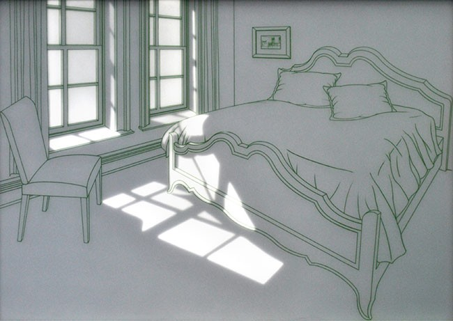 황선태,-오후의-햇빛이-드는-방,-142x102x5cm,-강화유리,-샌딩,-전사필름,-LED,-2011