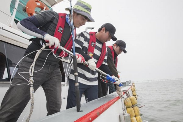 #Research team led by SK Telecom and Hoseo University announced on the 31st that it succeeded in testing 'base station-based underwater telecommunication technology utilizing LTE' in ocean 10 kilometers far from west of Namhang, Incheon.  Above picture shows research team dropping hydrophone (sound wave receiver) equipment, which plays a role of receiving data in underwater telecommunication, into ocean.