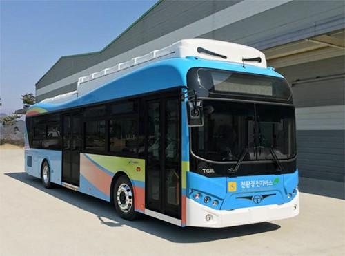 今年年初,TGM向韩国济州東西交通交付的电动客车。(图片来源:韩国《电子新闻》)