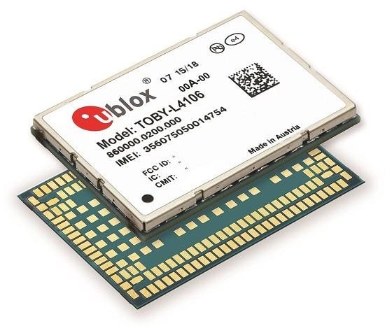 CPU가 내장되고 보안이 강화된 LTE 첨단 오토모티브 텔레매틱스 모듈 TOBY-L4 시리즈