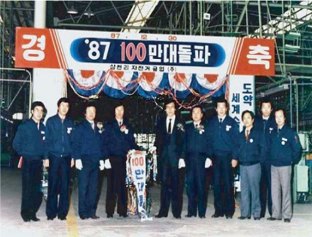 1987년 연간 100만대 자전거 생산 가능 축하 행사 장면. 사진=삼천리자전거 제공