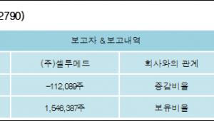 [ET투자뉴스][엠젠플러스 지분 변동] (주)셀루메드 외 2명 -2.19%p 감소, 10.89% 보유