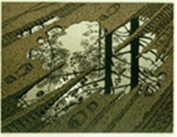 웅덩이(Puddle), 목판화, 63x53cm, 1952. 사진=와이제이커뮤니케이션 제공