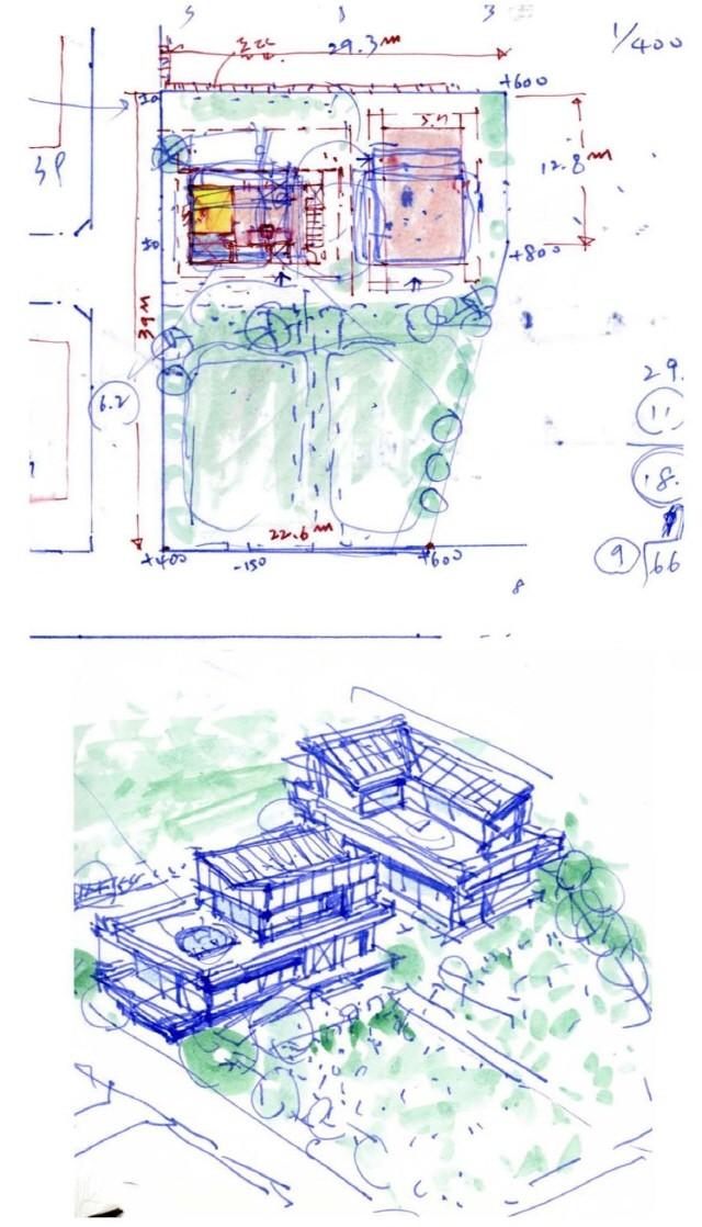 개념스케치 : 건축가 이관직, 배치도와 함께 표현한  스케치