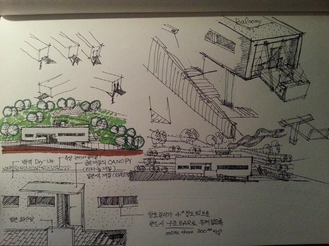 영흥 K씨 주택 개념스케치 : 윤창기, 단순한 입면의 모습과 간단한 부분상세에 대한 스케치