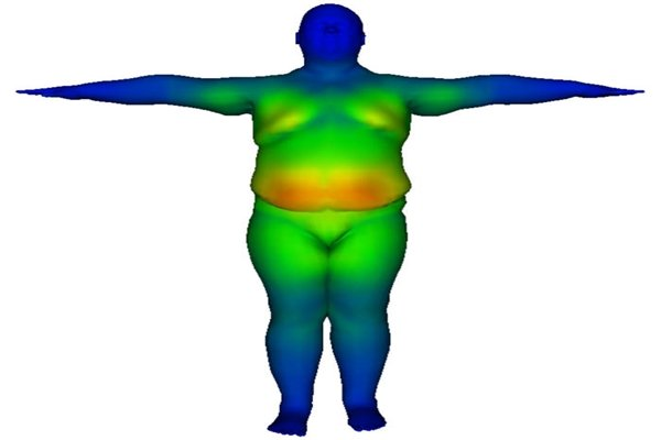 An image of a human body that is implemented through observation-based physical body character simulation' technology.  Bigger vibration of soft tissue is seen as color becomes more red.