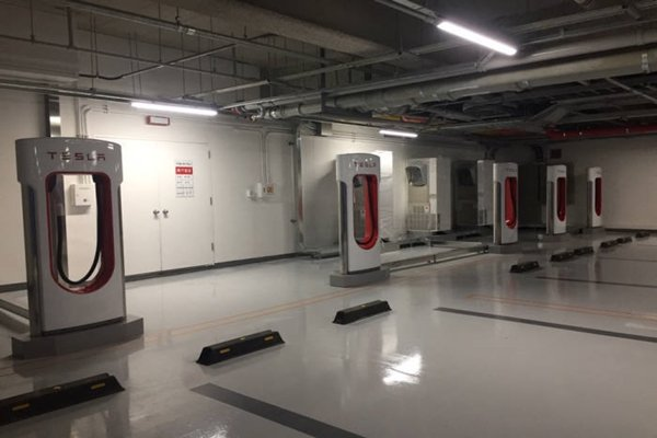 Tesla's charging stations called 'Super Chargers' that are placed in an underground parking lot of Seoul Grand Intercontinental Hotel