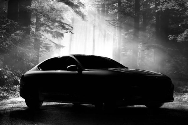 Teaser image of Genesis 'G70' that will be sold by Hyundai Motor Company starting from the 15th