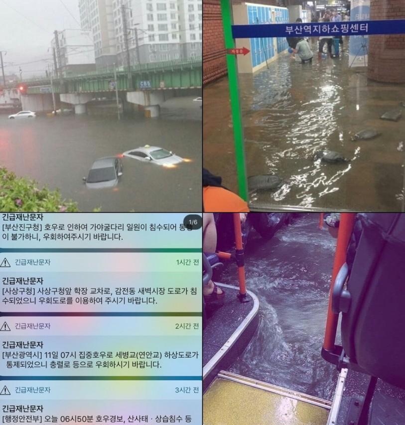 [부산 폭우·침수 실시간 상황] 2017년 맞나 싶을 정도...'버스에 찬 빗물 목숨 건 출근길'