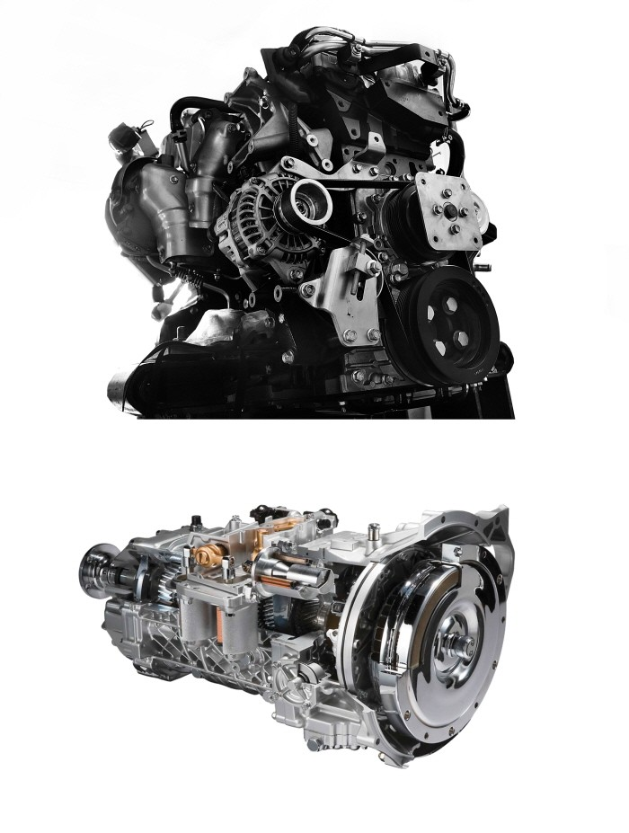 이스즈의 중형트럭 '엘프'의 4HK1-TCS'엔진과 6단 자동화변속기 스무더.(사진=큐로모터스 제공)
