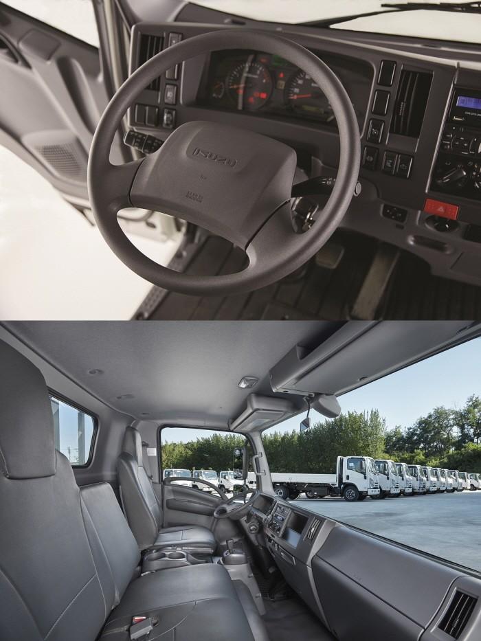 이스즈의 중형트럭 '엘프'의 내부모습.(사진=큐로모터스 제공)