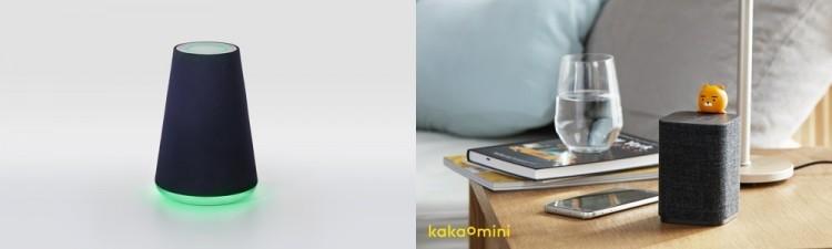 (왼쪽부터) AI 스피커 네이버 '웨이브'와 카카오 '카카오미니' 제품 사진.