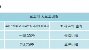 [ET투자뉴스][예림당 지분 변동] 모건스탠리앤씨오인터내셔널피엘씨-1.81%p 감소, 3.23% 보유