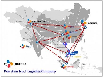 CJ대한통운은 9일 베트남 1위 종합물류기업 '제마뎁(GEMADEPT)'과 물류 및 해운부문 인수를 위한 자본출자협약서를 체결했다고 밝혔다. CJ대한통운의 아시아지역 물류망. 표=CJ대한통운 제공