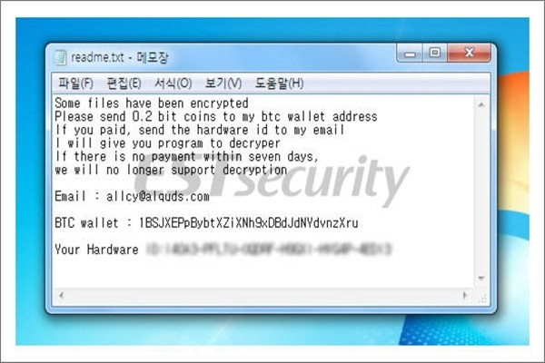 AllCry ransom note (Reference: ESTsecurity's blog)