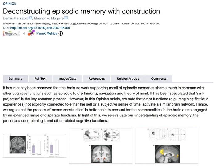 하사비스의 논문. 일화적 기억이 담당하는 여러 기억 관련 기능성에 관한 내용. 'Trends in Cognitive Science'(2007). UCL의 일화적 기억연구는 결국 2014년에 UCL의 존 오키프가 기억관련 연구로 노벨생리의학상을 수상하는 것으로 결실맺고 이에 기반한 강화학습기반 DQN알고리즘으로 2016년 알파고의 승리로 이어진다. 뇌연구기반 인지과학의 쾌거라 할 수 있다.