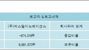 [ET투자뉴스][한프 지분 변동] (주)에스엘이노베이션스-6.14%p 감소, 29.49% 보유