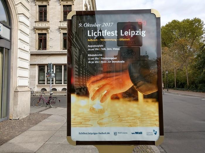 라이프치히의 1989년 민주화 운동 기념하는 '촛불 축제' 홍보물