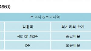 [ET투자뉴스][하림홀딩스 지분 변동] 김홍국 외 6명 -70.34%p 감소, 0% 보유