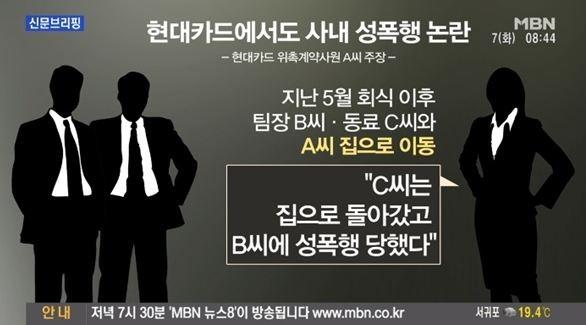 """'현대카드 사내 성폭행' 가해자, 피해자 엉덩이에 XX 비벼? """"배우자 사별한지 4개월된 남성"""""""