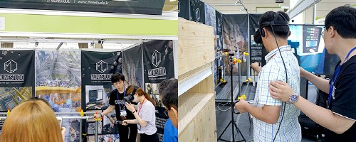 사진 설명 : 엠라인 스튜디오의 부스에서 VR 안전 콘텐츠를 체험하는 체험자들의 모습