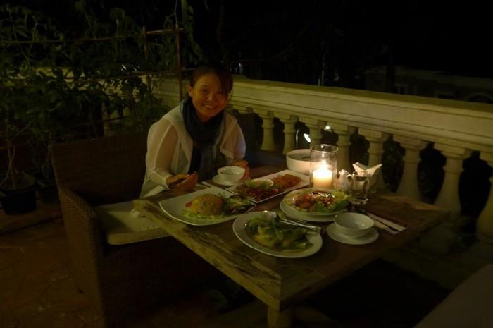 테라스에서 저녁