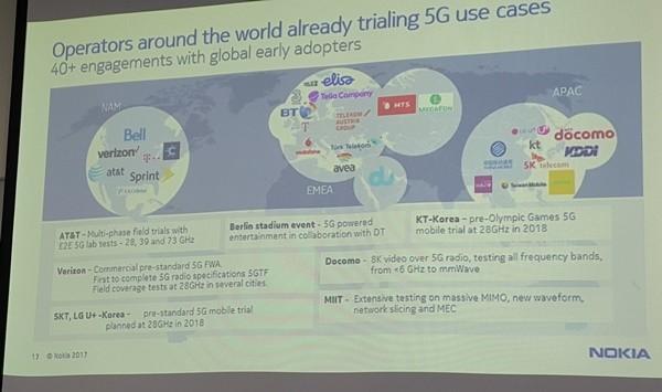 전세계 5G통신업체들의 상용화 노력을 보여 주는 그래픽. 23일 강연에서는 이같은 이통사업자들의 움직임도 소개될 예정이다. 사진=이재구기자