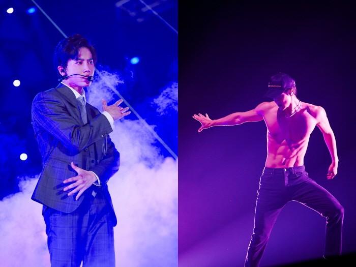 26일 오후 서울 구로구 고척스카이돔에서는 엑소(EXO)의 네 번째 단독콘서트 '엑소플래닛#4 더 엘리시온'의 3일차 공연이 열렸다. (좌측부터) 멤버 수호와 세훈의 모습. (사진=SM엔터테인먼트 제공)
