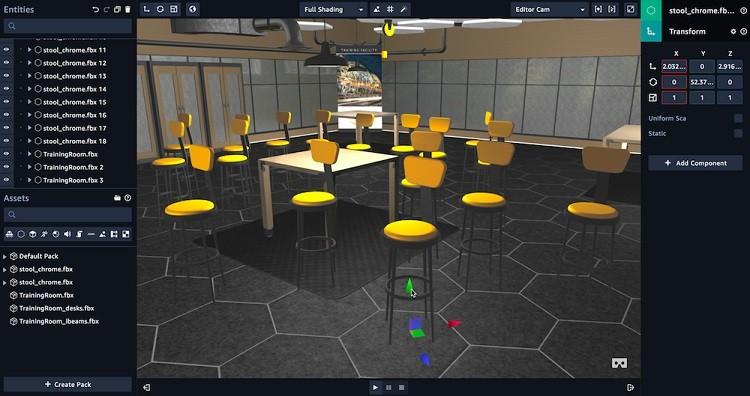 아마존 수메리안을 이용하여 3D 객체를 가상 장면에 업로드 하고 있다. 자료제공=AWS