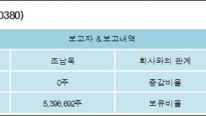 [ET투자뉴스][동양에스텍 지분 변동] 조남욱 외 3명 53.97% 보유