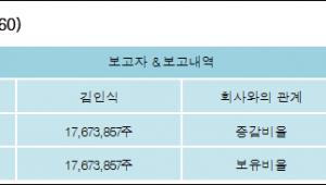 [ET투자뉴스][체리부로 지분 변동] 김인식 외 6명 63.41%p 증가, 63.41% 보유
