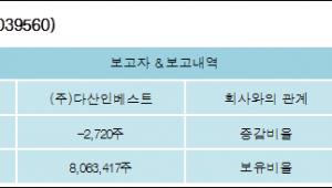 [ET투자뉴스][다산네트웍스 지분 변동] (주)다산인베스트 외 7명 -0.02%p 감소, 32.83% 보