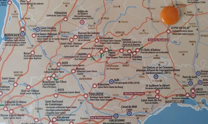 르 퓌 앙블레에서 출발, 지도에 숫자 1로 표기되어 있는 생 첼 도브락까지 17, 5Km