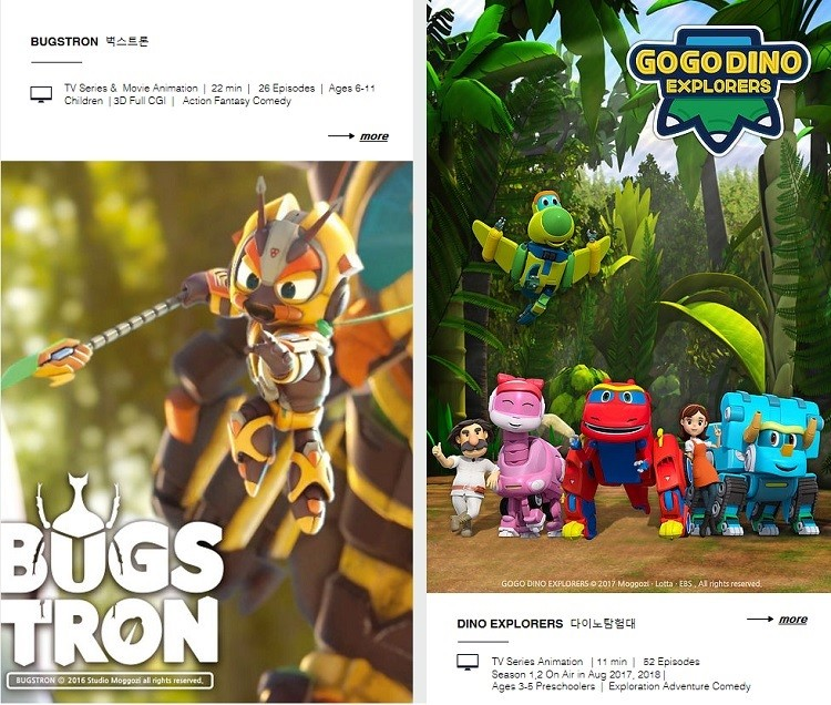 Main contents of Studio Moggozi, 'Bugstron' and 'GoGo Dino'