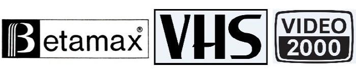 베타맥스, VHS, 비디오 2000의 로고