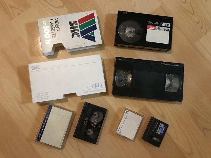 다양한 방식의 비디오 테이프, 베타, VHS, 8mm, 6mm