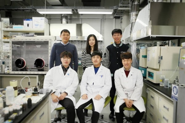 Research team that developed elastic battery material (Starting from the left of the back row going clockwise: Professor Seo Kwan-yong, Professor Kim So-yeon, Professor Park Soo-jin, researcher Song Woo-jin, researcher Kim Dong-hyeop, researcher Park Jung-hwan)
