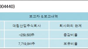 [ET투자뉴스][대림씨엔에스 지분 변동] 대림산업주식회사 외 8명 -1.88%p 감소, 60.63% 보유