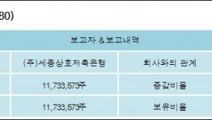 [ET투자뉴스][성지건설 지분 변동] (주)세종상호저축은행 외 1명 12.04%p 증가, 12.04% 보