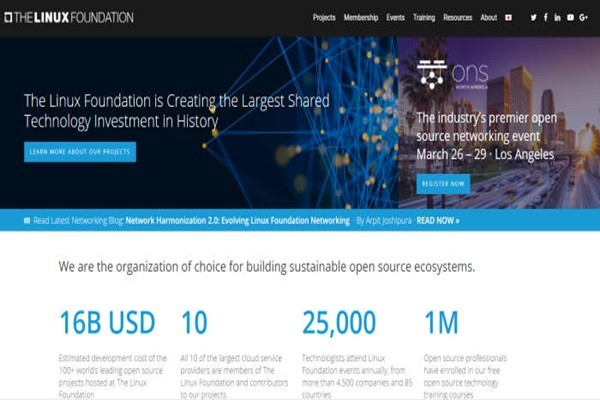 Homepage of Linux Foundation