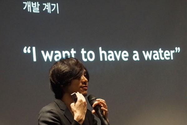 개발계기를 설명하는 로그바 CEO '요시다 타쿠로'