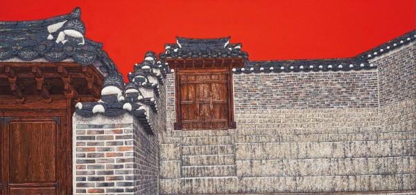 '문과 담, 55×117cm, 아크릴, 2014'. 사진=아트코리언 제공